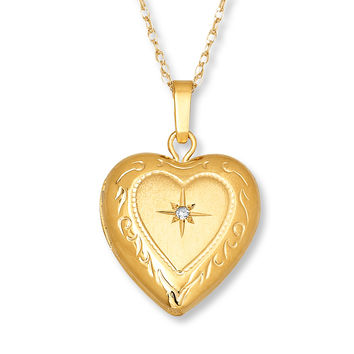 Engraved Heart Locket Diamond Accent 14K Yellow Gold