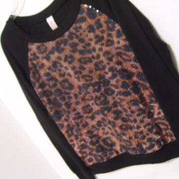 Sparkle and Shine Black Sweater Top Leopard Sequin Design