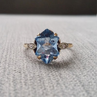 Antique Art Deco Engagement Ring Estate Blue Topaz Diamond two toned Gold Art Nouveau 1920s 10K Yellow Gold Heirloom Size 8.5