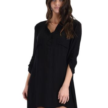 SL4362 Black Long Roll-Up Sleeve Tunic Shirt
