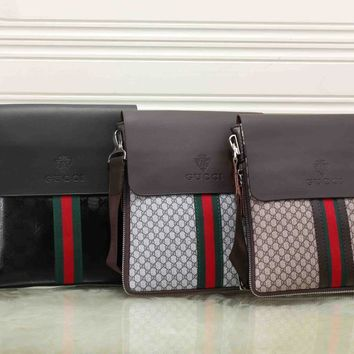 Gucci Trending Women Men Casual Red Blue Stripe Letter Print Leather Crossbody Satchel Shoulder Bag Briefcase 3-Color I-KSPJ-BBDL