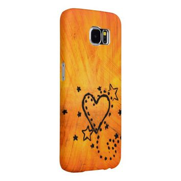 Orange Heart Doodle Samsung Galaxy S6 Case Samsung Galaxy S6 Cases