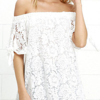 White Lace Crochet Loose Short Sleeve Off Shoulder Blouse