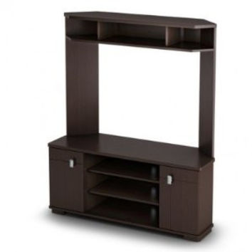 Corner TV Stand Entertainment Center in Chocolate Finish
