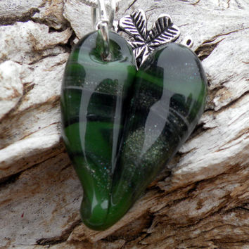 Glass Heart Necklace Green Sparkle Heart Silver by untamedrose