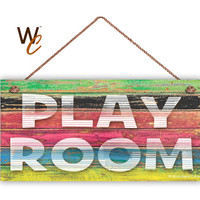 "PLAY ROOM Sign, Kid's Room Door Sign, Weatherproof, 5"" x 10"" Sign, Wall Plaque, Nursery Decor, Toy Room Sign, Made To Order"