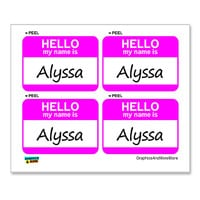 Alyssa Hello My Name Is - Sheet of 4 Stickers