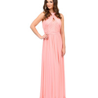 Unique Prom Exclusive Coral Cross Halter Mesh Gown 2015 Prom Dresses