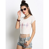 Fashion Women Round Neck Embroidery Tassel Blouse Crop Tops