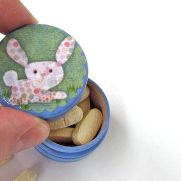 Polka Dotted Bunny Rabbit on the Green Tooth Fairy Box - Rabbit Pill Box - Bunny Rabbit Vitamin Box - First Curl Container - Boy or Girl