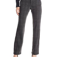 Lee Women's Comfort Fit Callie Straight Leg Pant, Charcoal Plaid, 8 Medium