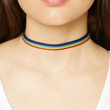 e96fcad8abd3d Rainbow Stripe Choker from Forever 21