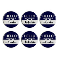 Johan Hello My Name Is Plastic Resin Button Set of 6