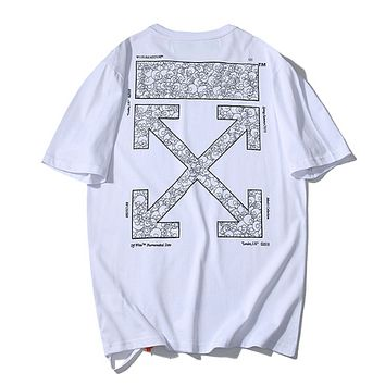 Off White Fashion New Cross Arrow Print Women Men Top T-Shirt White