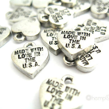 Made With Love In The U.S.A. Heart Charms, 4pc Antiqued Silver Pewter, 9.5x11mm