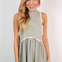 Fashion Queen Turtleneck Tank in Grey
