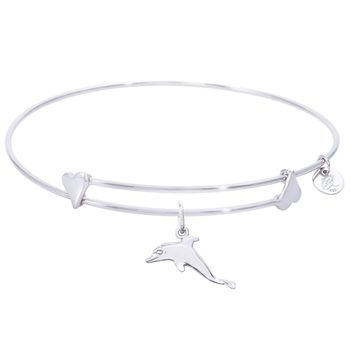 Sterling Silver Sweet Bangle Bracelet With Dolphin Charm