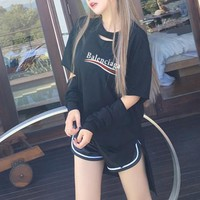 """""""Balenciaga"""" Women Casual Personality Ripped Hollow Wave Stripe Letter Print Long Sleeve T-shirt Tops"""