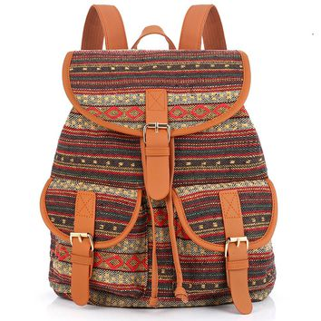 Vintage Bohemian Thai Woven Boho Backpack School Bag Aztec Bagpack Rucksack Casual Daypack Tribal Drawstring Bag