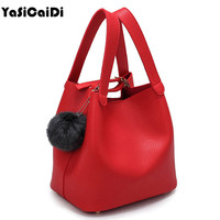 '-Handle Women Bags Pu Women's Leather Handbags Black Bag Tassel Fur Ball Small Bucket Sac