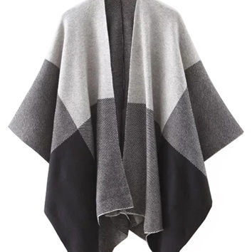 Color Block Knit Cape