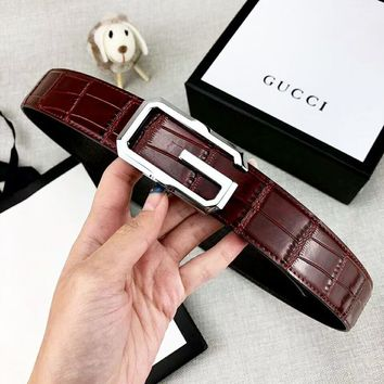 GUCCI  Fashion New G Letter Buckle Women Men Leather Leisure Belt Coffee