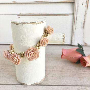 Blush Rose Bracelet Molded Celluloid, Wedding Jewelry, Flower Bracelet, Bridesmaid Bracelet, Bridal Jewelry, Bracelet with Roses