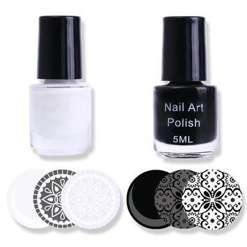 2 Bottles White Black Nail Stamping Polish Manicure Nail Art Print Stamp Varnish Set Stamping Laquer