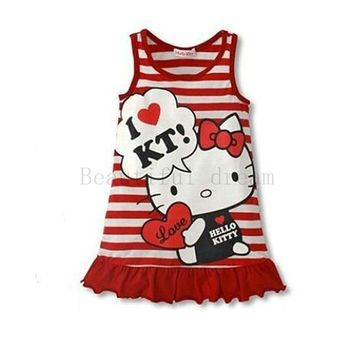 Hello Kitty Style Cartoon Pattern Summer Kids Dress Princess Girl Dress For Party Costume For Girls Dresses Children Clothing