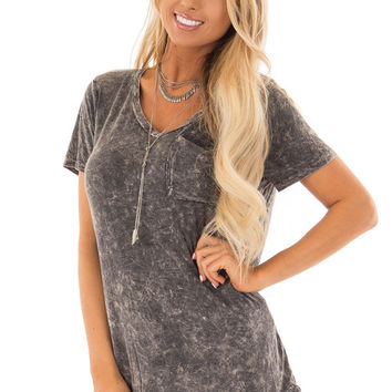 Charcoal Mineral Wash Short Sleeve Top with Front Pocket