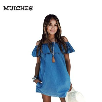Women Vintage Denim Dress