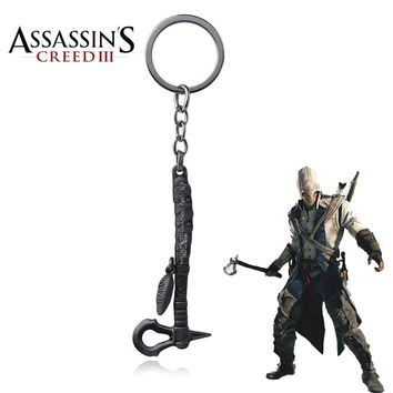 Hot Game Assassin's Creed Conner's Battle Tomahawk Axe Ax Keychain  Assassins Creed Logo Key Rings Key Accessories Jewelry