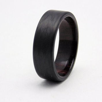 East India Rosewood and Carbon Fiber ring, Carbon fiber ring, wood ring