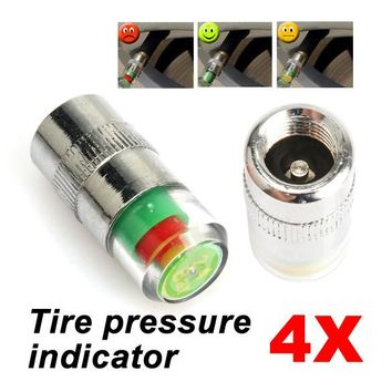 4pcs 36 PSI Tire Pressure Indicator Valve Stem Caps 3 Color Eye Alert (2.4bar )