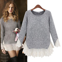 Grey Insert Lace Knit Sweater
