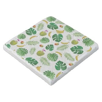 Tropical pattern stone coaster