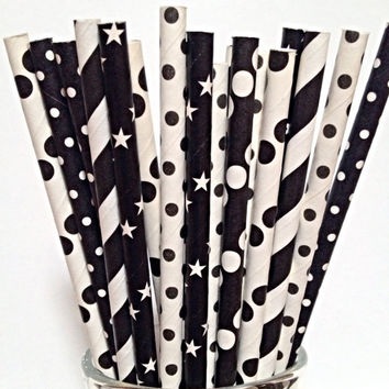 Black and White Paper Straws -50 mixed Straw Summer Birthday Party or modern Wedding decor.  Festive Stripe polka dot star