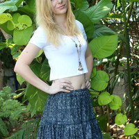 Boho Womens Skirt in Hmong Indigo Batik