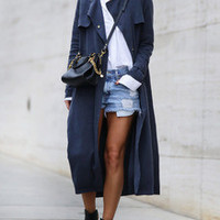 Navy Long Sleeve Pockets Trench Coat