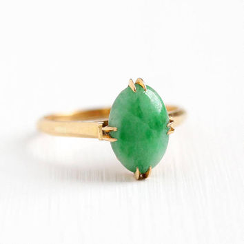 Vintage Jade Ring - 18k Rosy Yellow Gold Jadeite Jade Gem Cabochon - Retro 1970s Size 6 Green Oval Raised Gemstone K18 Japan Fine Jewelry