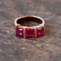 Vintage Red Stone Ring Gold Vermeil over 925 Sterling Silver Three Stone Band Princess Cut Thailand Size 7 1980's // Vintage Silver Jewelry