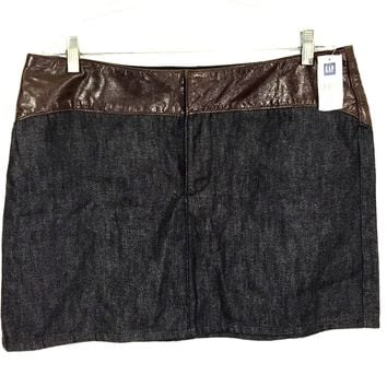 Gap Jeans Skirt Genuine Brown Leather Waist Jean Denim Dark Wash Womens 16 NWT
