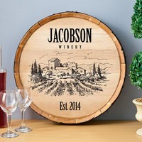 Wine Barrel Sign - Vineyard