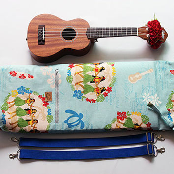 Soprano ukulele case / hula girl sky blue with ribbon lei / ukulele soft case / hawaiian fabric / tropical / surfboard / instrument case