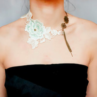 statement necklace  // floral lace choker bib / white green beige / tassel charmed// swarovski crystal / wedding brial accessory