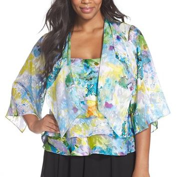Plus Size Women's Alex Evenings Print Chiffon Tiered Twinset,