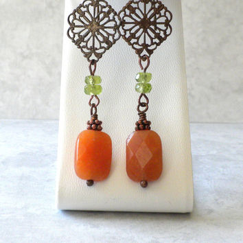 Red Aventurine and Brass Filigree Earrings, Healing Stone Earrings, Antique Filigree and Gemstone Earrings, Green and Orange Earrings