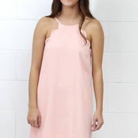 Scalloped Perfection Shift Dress {Blush}
