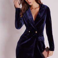 Missguided - Velvet Blazer Dress Navy