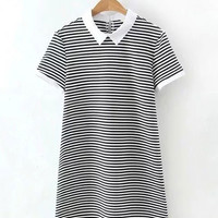 Black and White Striped Short Sleeve Lapel Mini A-line Dress